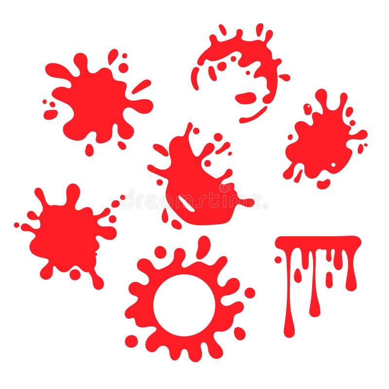 Download El Sistema De Diversos Descensos De Las Salpicaduras De La Sangre O De La Pintura Y El Rastro Aislaron En El Fondo Blanco Que Tod Ilustración del Vector - Ilustración de sangre, donación: 100529525