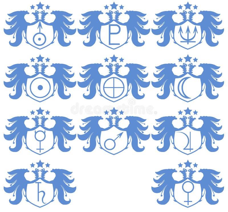 El sistema de dos dirigió el águila con símbolos del planeta aislada stock de ilustración