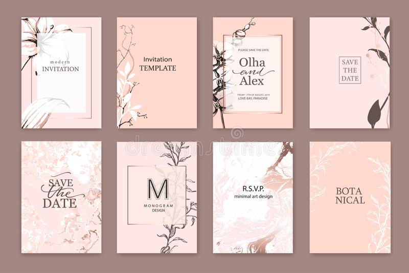 El sistema de elegancia elegante se ruboriza las tarjetas con textura rosada de los lirios, blanca y color de rosa del oro del má stock de ilustración