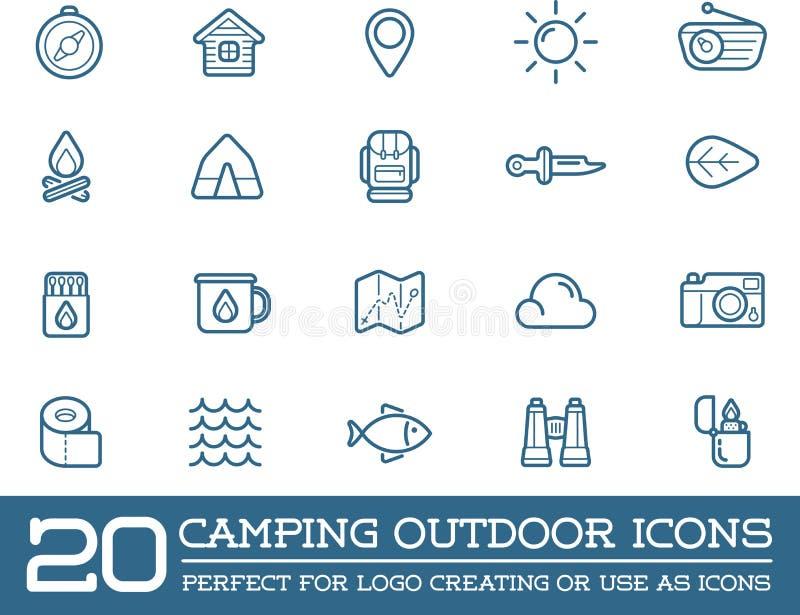 El sistema de elementos del campo del vector que acampan y el ejemplo de los iconos de la actividad al aire libre se pueden utili libre illustration
