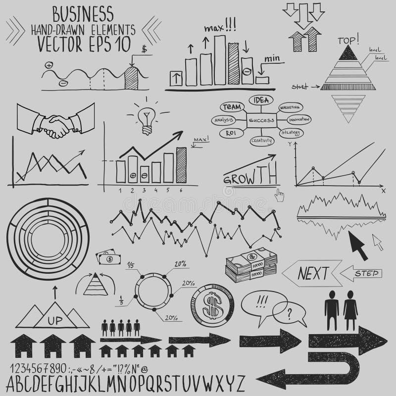 El sistema de elementos dibujados mano de las finanzas del negocio vector el ejemplo. Concepto - banco, stats, economía, dinero stock de ilustración