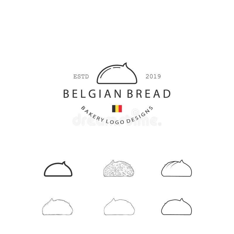 El sistema de elementos de los pasteles de la panadería del vector y el ejemplo de los iconos del pan se pueden utilizar como log stock de ilustración
