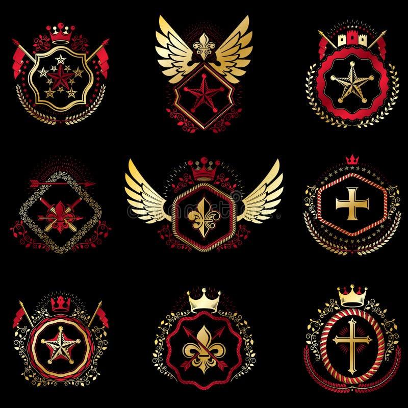 El sistema de emblemas del vintage del vector creados con los elementos decorativos le gustan las coronas, de las estrellas, de l libre illustration