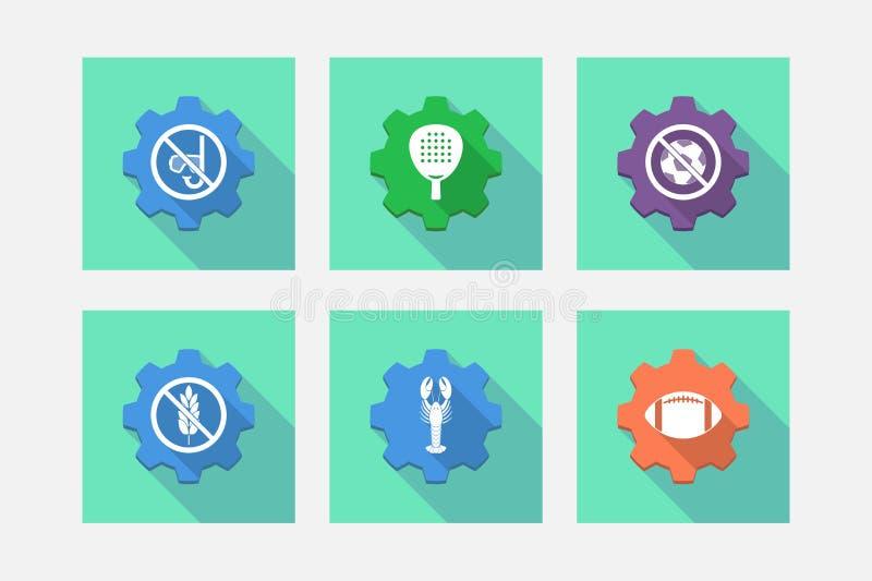 El sistema de engranajes con deportes y de reconstrucción relacionó iconos libre illustration