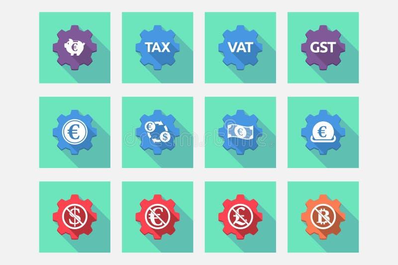 El sistema de engranajes con el dinero, la economía, el negocio y finanzas se relacionó ilustración del vector