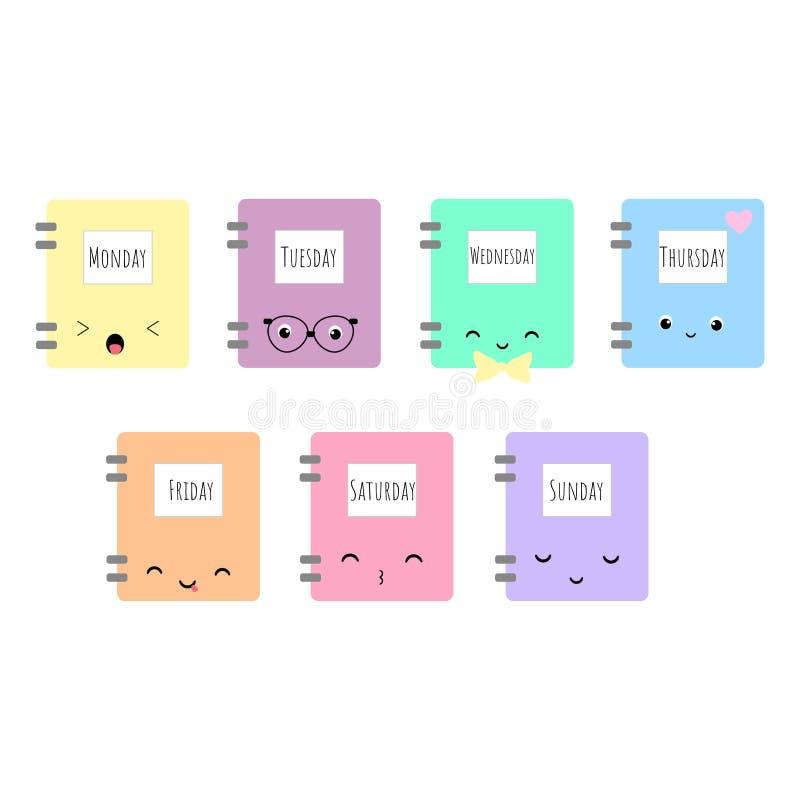 El sistema de estilo asiático del kawaii de 7 vectores reserva con días de semana y de d stock de ilustración