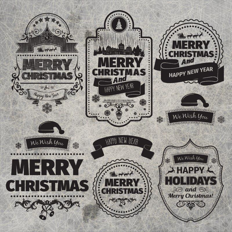 El sistema de etiquetas de la Navidad y de la Feliz Año Nuevo con el vintage retro diseñado diseña ilustración del vector