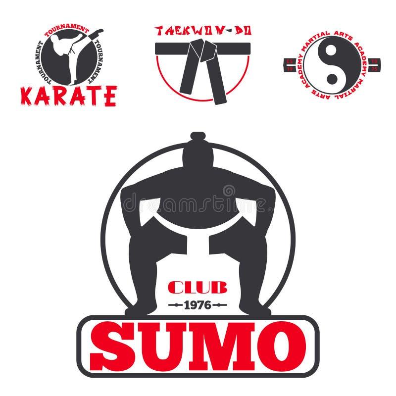 El sistema de etiquetas frescas de los emblemas del club que luchan lucha el ejemplo del vector del karate del puño del deporte d ilustración del vector