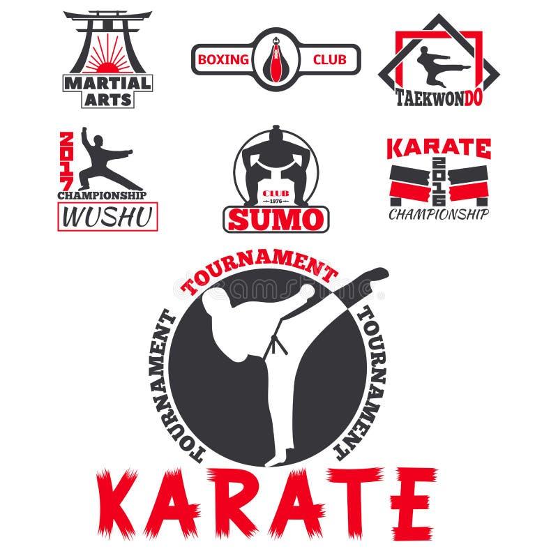 El sistema de etiquetas frescas de los emblemas del club que luchan lucha el ejemplo del vector del karate del puño del deporte d stock de ilustración