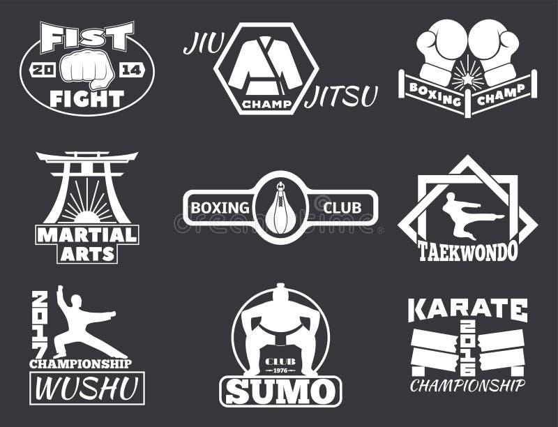 El sistema de etiquetas frescas de los emblemas del club que luchan lucha insignias ilustración del vector