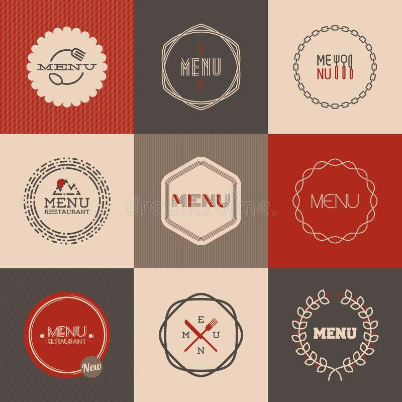 El sistema de etiquetas para el diseño del menú del restaurante. Ejemplo del vector ilustración del vector