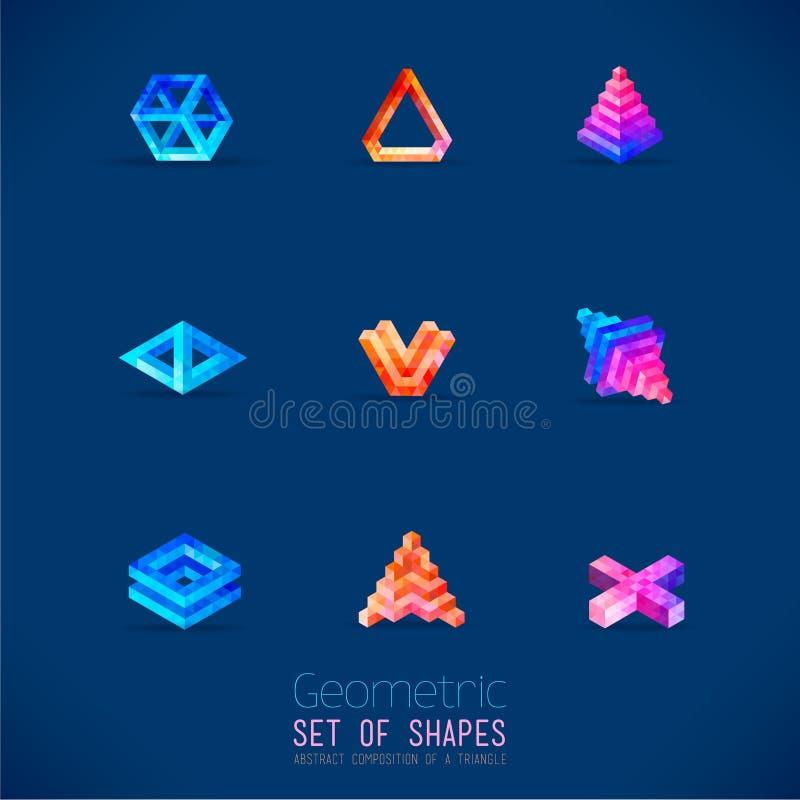El sistema de figuras geométricas del extracto del color recogió de un triángulo ilustración del vector