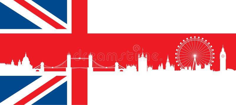 Bandera británica con el horizonte muy detallado de Londres de la silueta stock de ilustración