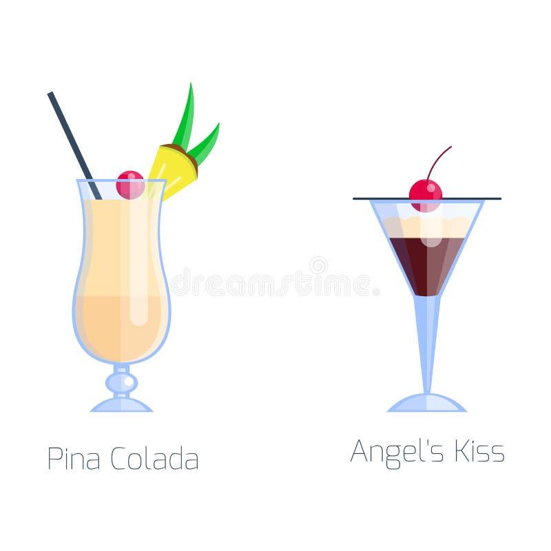 El sistema de frío alcohólico de la fruta de los cócteles bebe frescura del colada del pina y tequila tropicales del dulce del al ilustración del vector