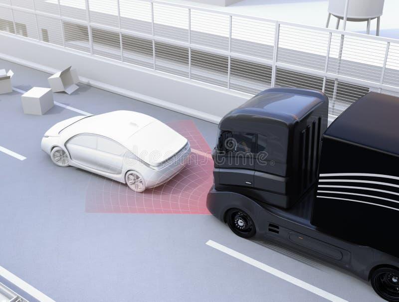 El sistema de frenos automático evita choque de coche del accidente de tráfico ilustración del vector