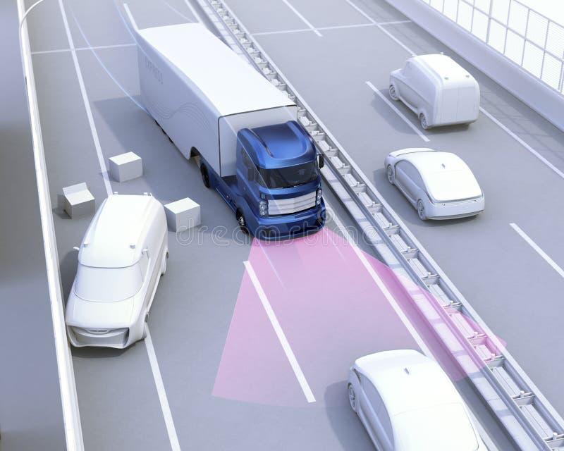 El sistema de frenos automático evita choque de coche del accidente de tráfico stock de ilustración