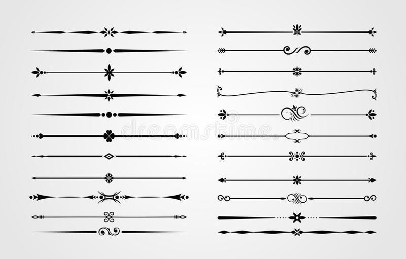 El sistema de fronteras ornamentales y de esquinas del flourish, ornamento real remolina y los divisores de la página del vintage libre illustration