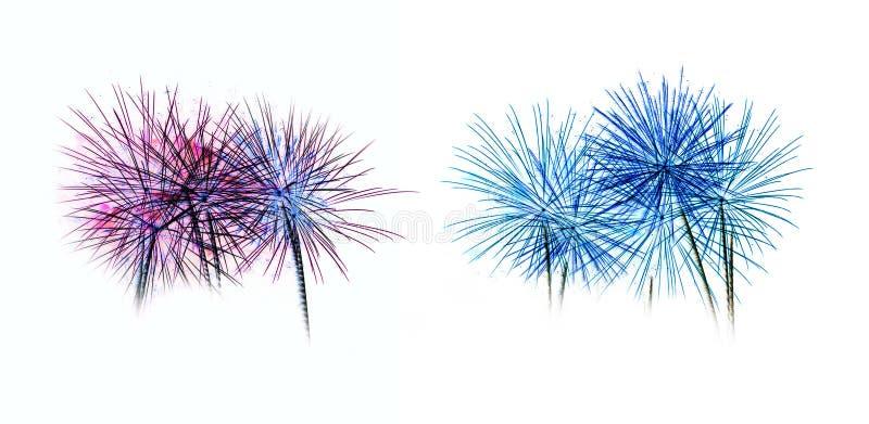 El sistema de fuegos artificiales coloridos se enciende en el fondo blanco fotos de archivo libres de regalías