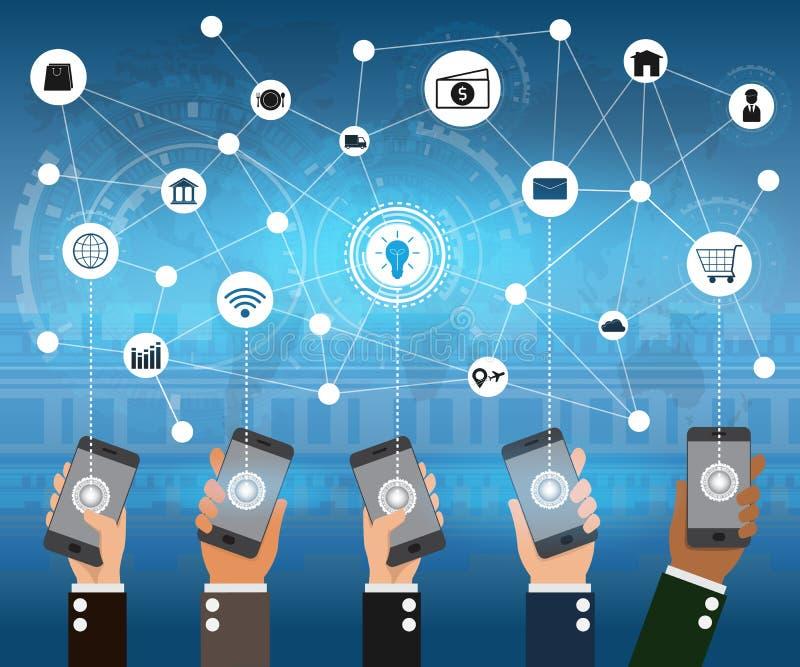 El sistema de gente da llevar a cabo los dispositivos del teléfono móvil y el te abstracto libre illustration