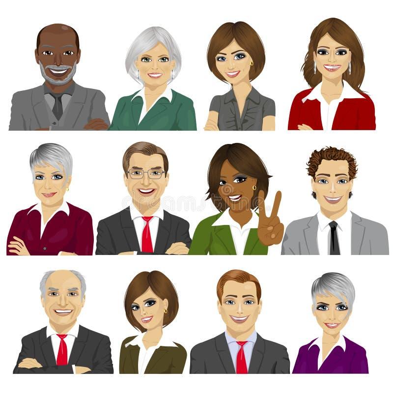 El sistema de hombres de negocios de la colección del avatar de trabajadores combina stock de ilustración