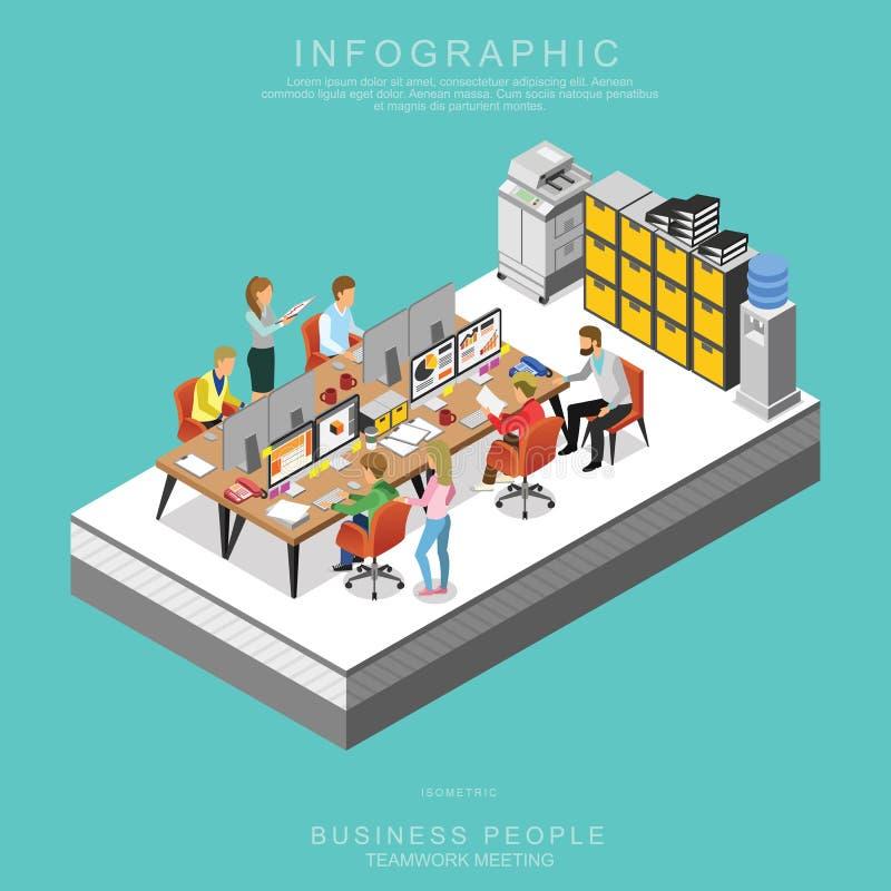 El sistema de hombres de negocios isométricos de la reunión del trabajo en equipo en oficina fijó A ilustración del vector