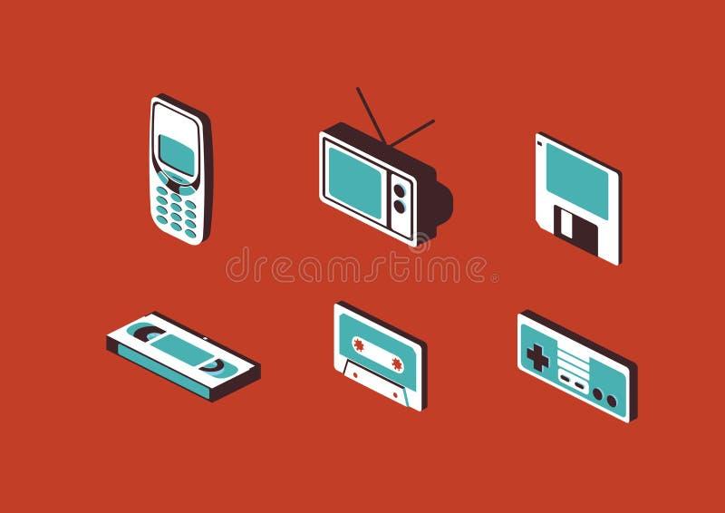 El sistema de iconos del artilugio de los dispositivos 90s Vector el ejemplo ilustración del vector