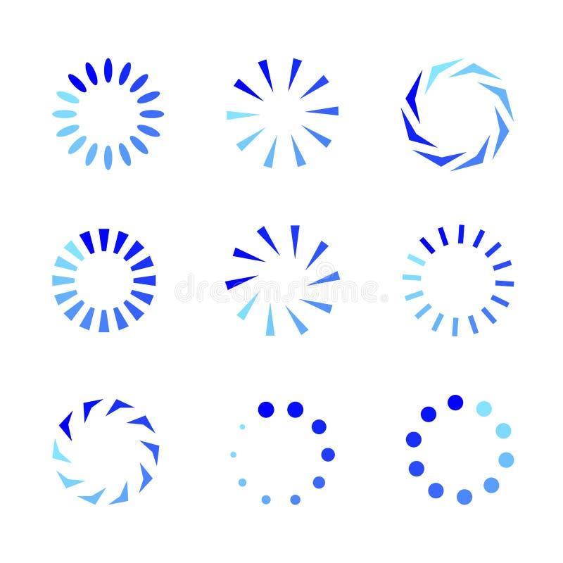 El sistema de iconos del cargamento, círculo del vector forma símbolos coloreados pendiente plana del diseño aislado en el fondo  ilustración del vector
