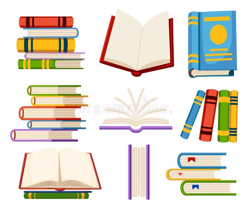 El sistema de iconos del libro se abre y los libros cercanos en el ejemplo plano del estilo del diseño aislado en la página y la  libre illustration