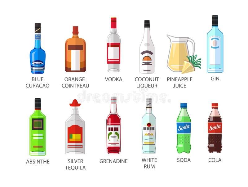 El sistema de iconos planos de la botella del alcohot de la élite del estilo diseña stock de ilustración