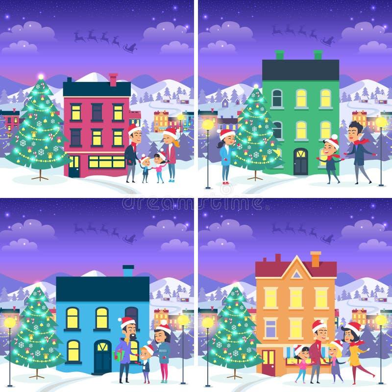 El sistema de imágenes de la Navidad con las familias acerca a hogares stock de ilustración