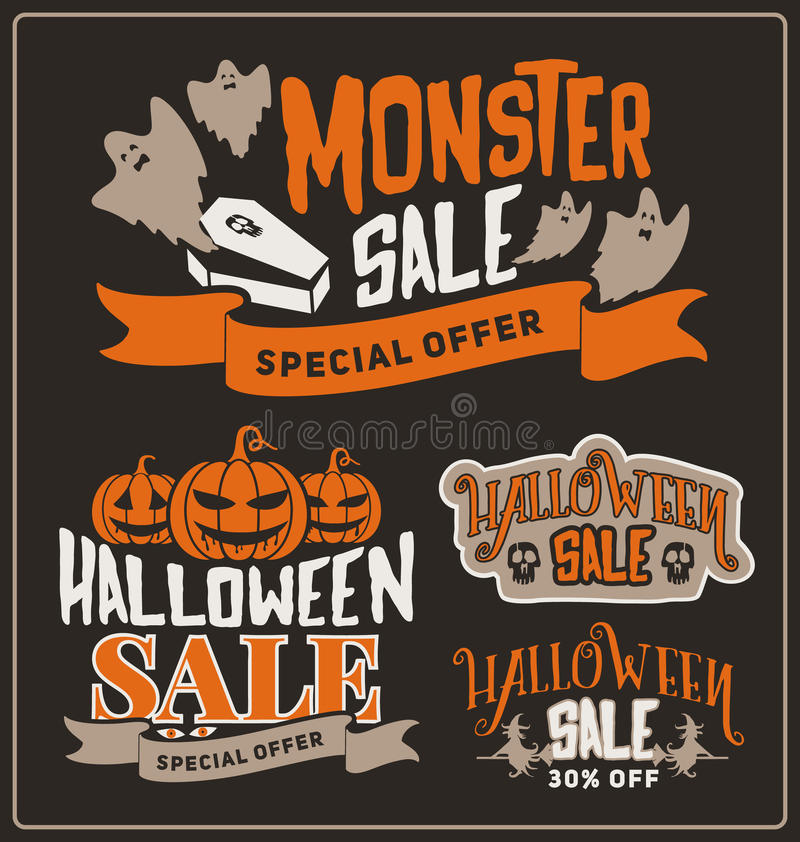 El sistema de insignias de la promoción de venta de Halloween y las etiquetas diseñan ilustración del vector