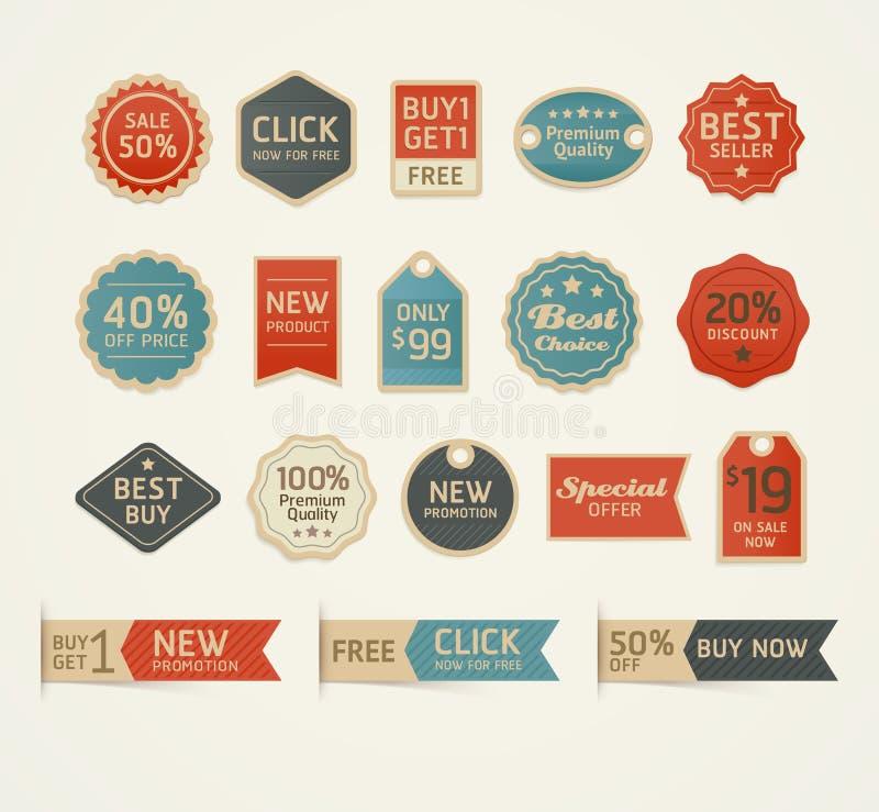 El sistema de insignias retras del vintage y las etiquetas diseñan stock de ilustración