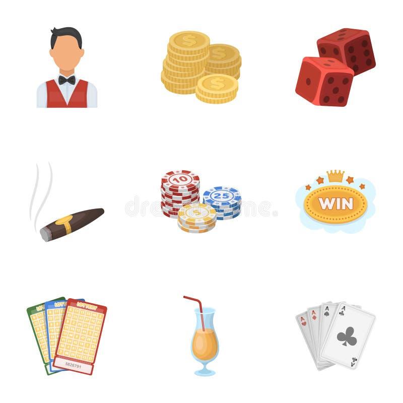 El sistema de juegos del casino de los símbolos Juego para el dinero Microprocesadores, dominós, casino Casino e icono de juego e ilustración del vector