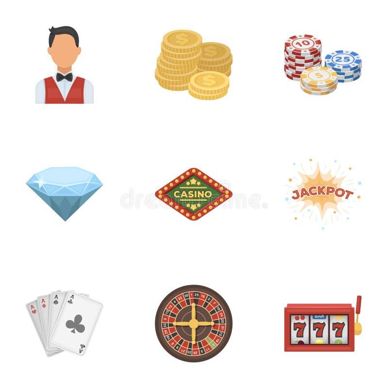 El sistema de juegos del casino de los símbolos Juego para el dinero Microprocesadores, dominós, casino Casino e icono de juego e stock de ilustración