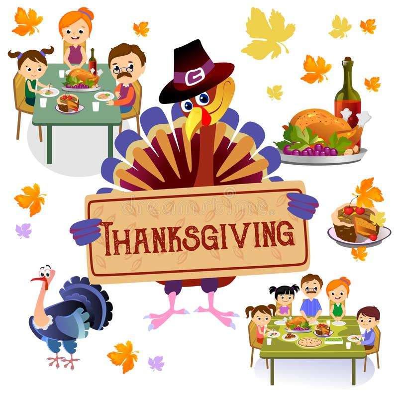 El sistema de la acción de gracias, familia feliz aislada en la tabla de cena come el vino de la bebida del pavo Padre de la madr stock de ilustración