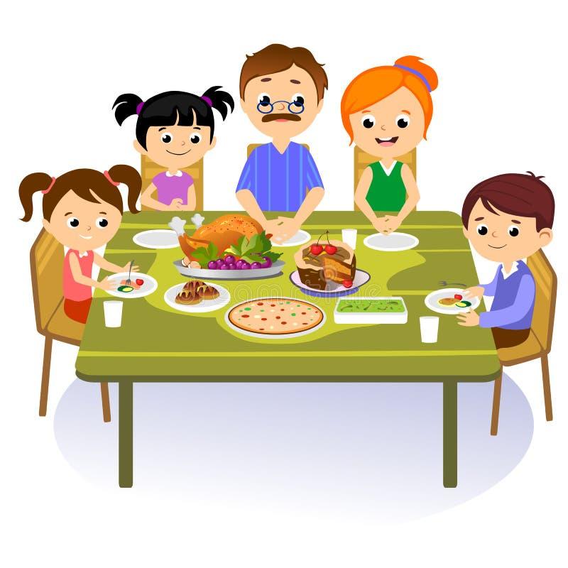 El sistema de la acción de gracias, familia feliz aislada en la tabla de cena come el vino de la bebida del pavo Padre de la madr ilustración del vector