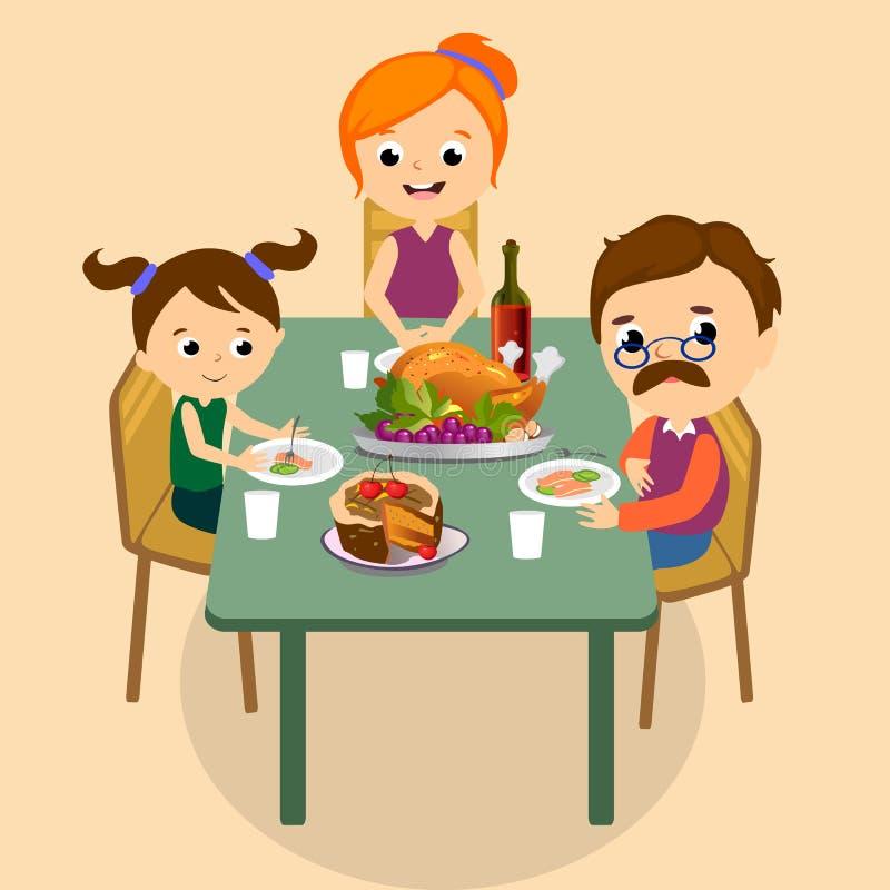 El sistema de la acción de gracias, familia feliz en la tabla de cena come el vino de la bebida del pavo Padre de la madre con lo ilustración del vector