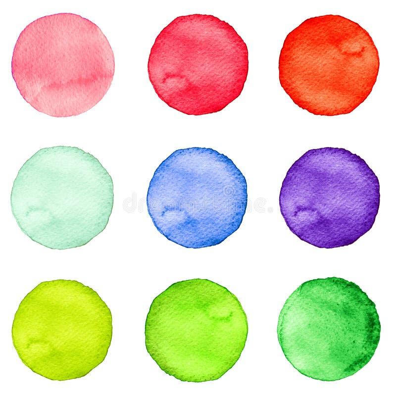 El sistema de la acuarela circunda colores en colores pastel Ejemplo para el diseño artístico Manchas redondas, puntos aislados e stock de ilustración