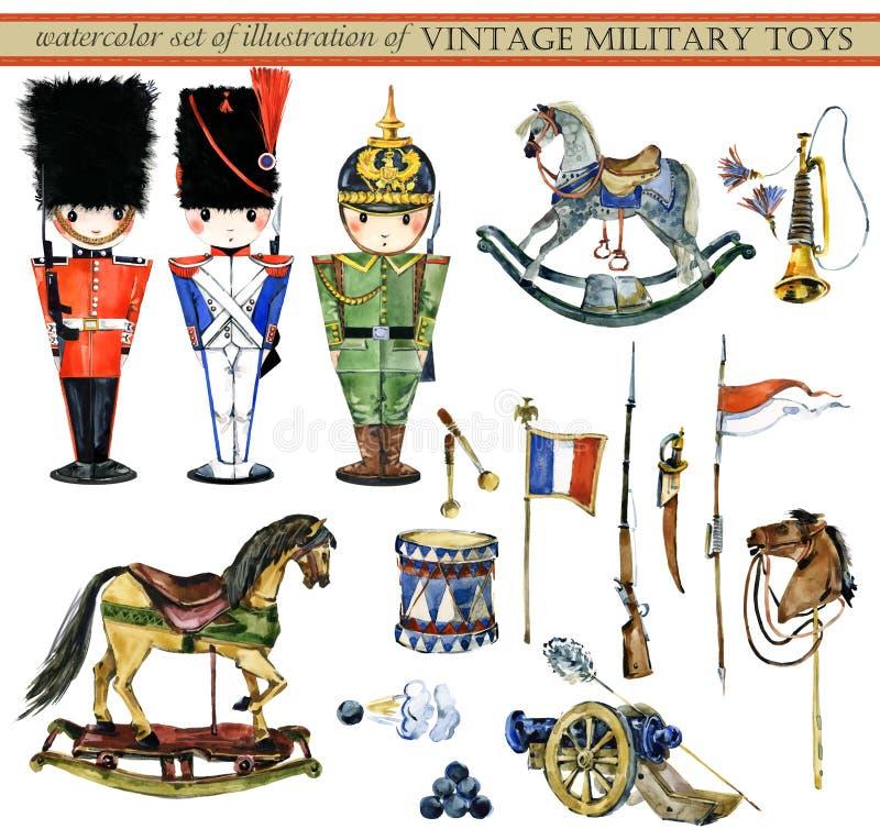 El sistema de la acuarela de ejemplos de los militares del vintage juega stock de ilustración