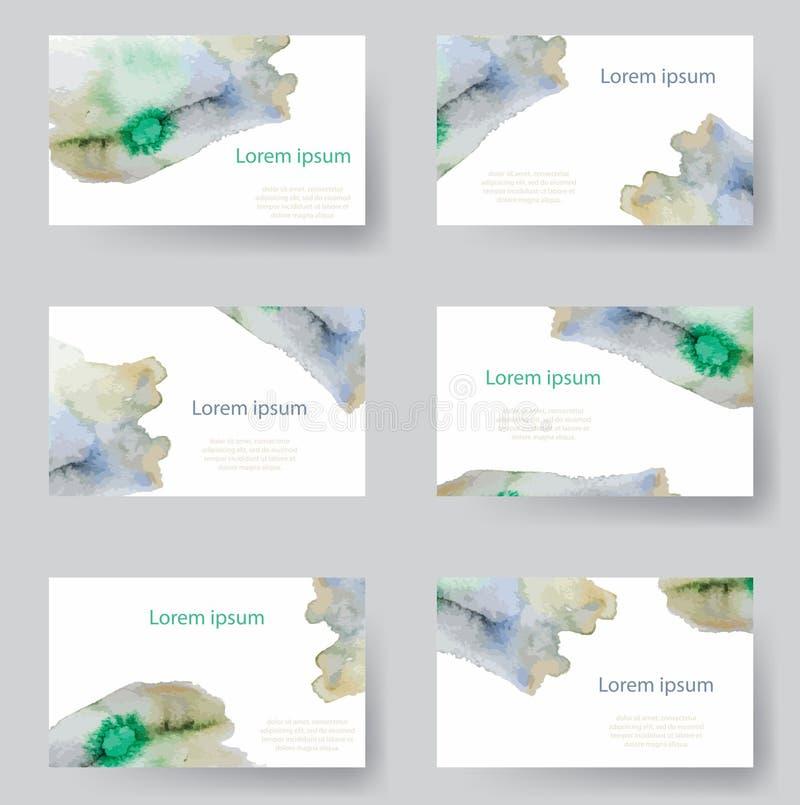El sistema de la acuarela identifica la tarjeta de los fondos, etiquetas, invitaciones Vector ilustrado ilustración del vector