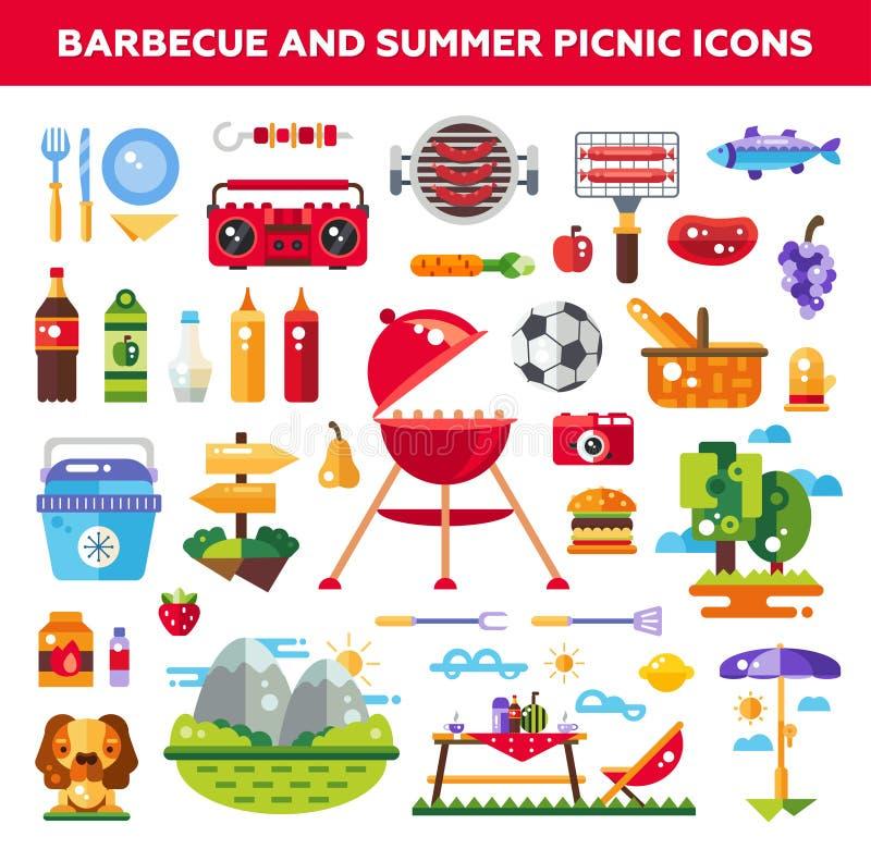 El sistema de la barbacoa plana del diseño y el verano meriendan en el campo libre illustration