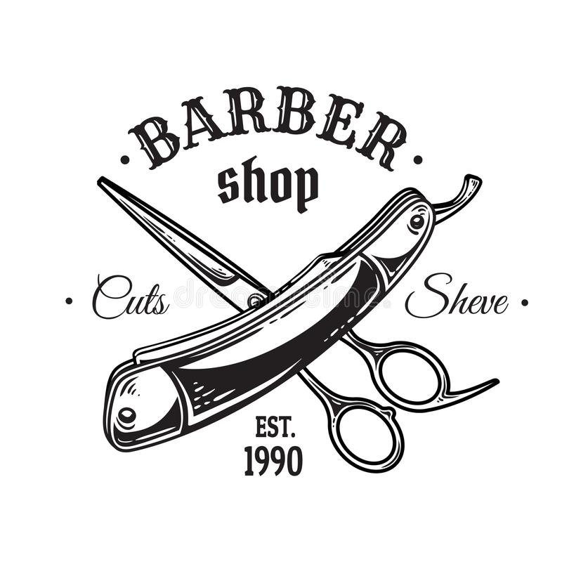 El sistema de la barbería del vintage simboliza la cuchilla de las tijeras de los logotipos de las insignias de las etiquetas Ais ilustración del vector