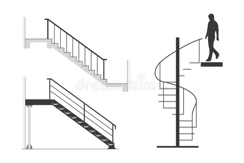 El sistema de la escalera de acero con la silueta del hombre va abajo de la escalera espiral, ejemplo del vector ilustración del vector
