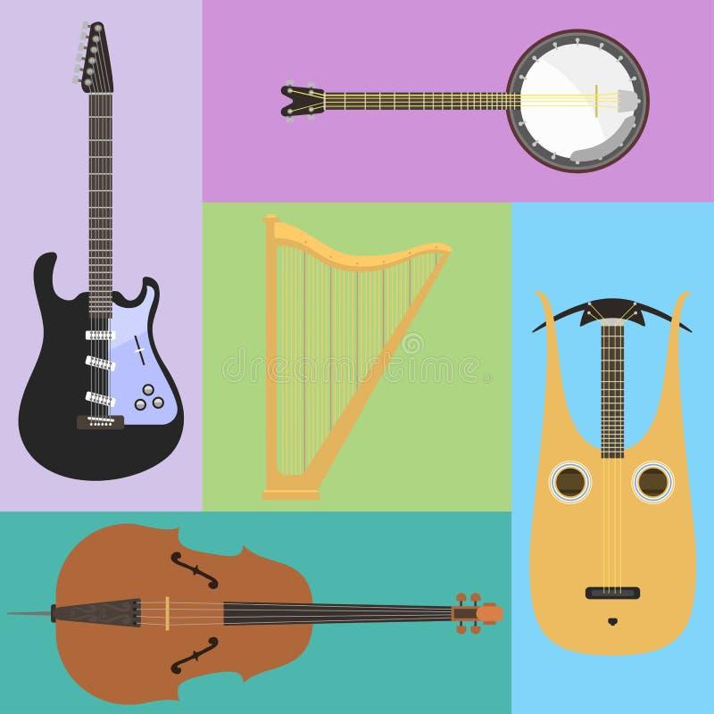 El sistema de la herramienta clásica atada del sonido del arte de la orquesta de los instrumentos musicales y de la sinfonía acús ilustración del vector