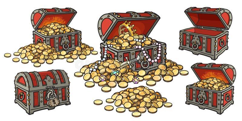 El sistema de la historieta de cofres del tesoro del pirata se abre y cerrado, vacío y lleno de monedas y de joyería de oro Pila  ilustración del vector