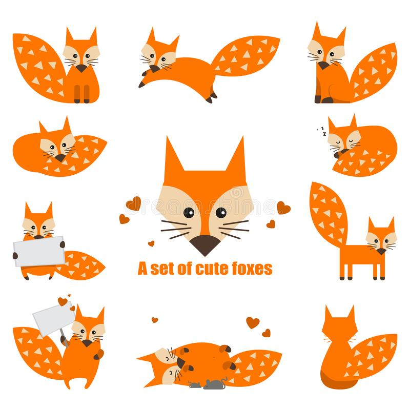 El sistema de la historieta linda foxes en estilo plano simple moderno Ilustraci?n aislada del vector ilustración del vector
