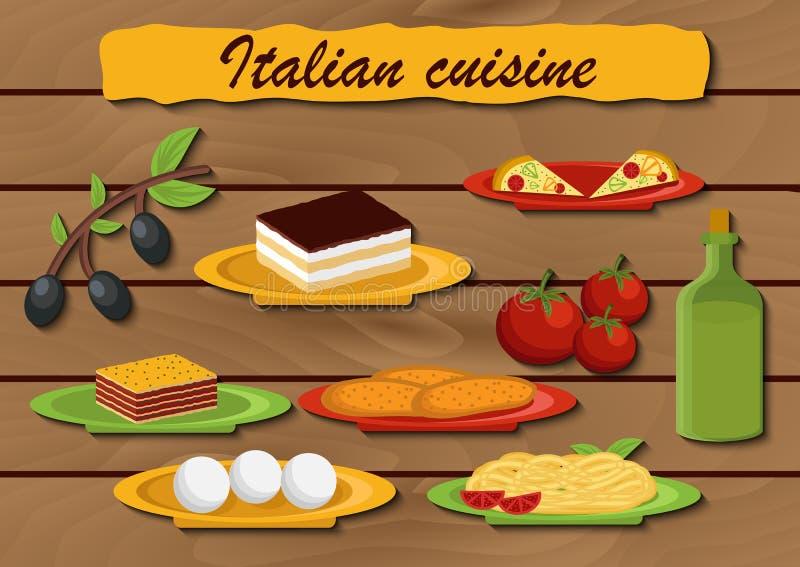 El sistema de la historieta se opone en tema italiano de la comida libre illustration