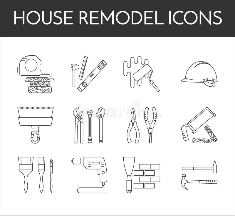 El sistema de la línea blanco y negro fina casa remodela iconos libre illustration