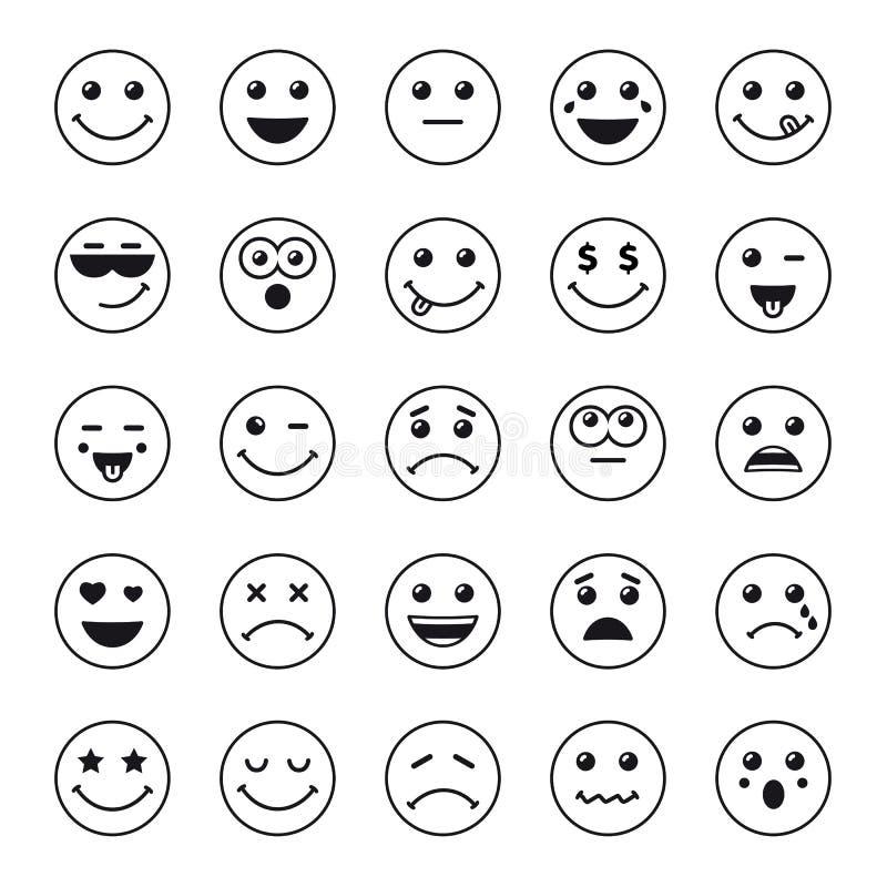 El sistema de la línea emoticons del arte o los iconos redondos del emoji se ennegrece ilustración del vector