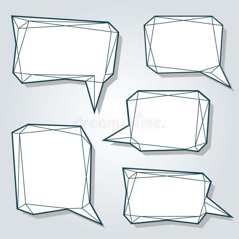 El sistema de la línea fina discurso bajo del extracto del polígono 3d burbujea stock de ilustración